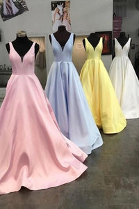 Unique Yellow Satin Prom Dresses with V Neck V Back Straps Long Formal Dresses RS486