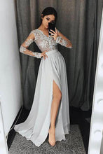 Load image into Gallery viewer, Stylish A-Line V-Neck Long Sleeves Split Front Gray Chiffon Long Prom Dresses RS327
