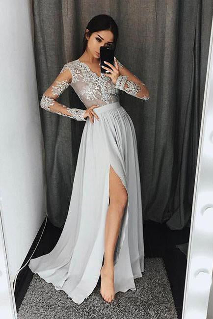 Stylish A-Line V-Neck Long Sleeves Split Front Gray Chiffon Long Prom Dresses RS327