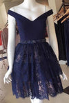 V Neck Navy Blue Straps Beads Lace Homecoming Dresses Short Prom Dresses H1185