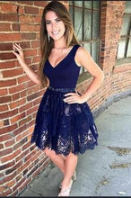 Load image into Gallery viewer, V Neck Navy Blue Straps Beads Lace Homecoming Dresses Short Prom Dresses H1185