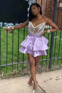 V Neck Purple Strapless Homecoming Dresses Satin Sequins Above Knee Short Prom Dress H1096