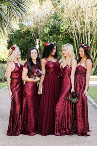 Vintage Burgundy Sequins Backless Long Prom Dresses Bridesmaid Dresses RS420