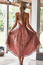 Load image into Gallery viewer, Vintage Dusty Rose High Low Lace Homecoming Dresses with Pocket V Neck Short Prom Dress RS952