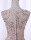 Vintage High Low Round Neck Lace Appliques Pink Homecoming Dresses with Straps H1193