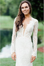 Load image into Gallery viewer, Vintage Long Sleeve Deep V Neck Mermaid Lace Wedding Dress Ivory Backless Bridal Dress W1067