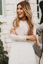 Load image into Gallery viewer, Vintage Long Sleeve Ivory Lace Chiffon Scoop Wedding Dresses Country Wedding Gowns W1050