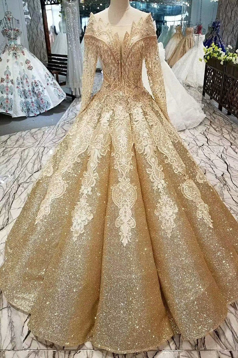 Ball Gown Gold Long Sleeves Lace Appliques Sequins Open Back Beads Quinceanera Dresses RS894