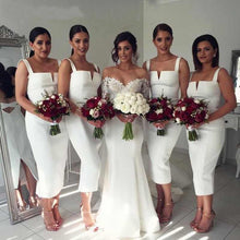 Load image into Gallery viewer, White Straps Mermaid Satin Prom Dresses V Neck Backless Bridesmaid Dresses RS914