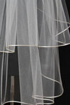 White Tulle Wedding Veils Bride Ribbon Edge Two Tiers Wedding Veils with Comb V01