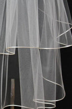 Load image into Gallery viewer, White Tulle Wedding Veils Bride Ribbon Edge Two Tiers Wedding Veils with Comb V01