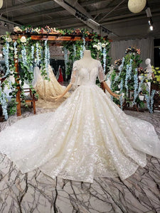 Lace Half Sleeve Round Neck Ball Gown Wedding Dresses Fashion Beads Wedding Gown RS775