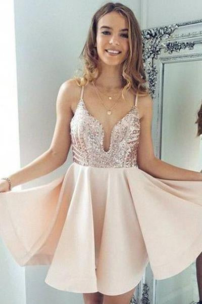Sexy A-Line Spaghetti Straps V Neck Pearl Pink Short Homecoming Dress with Sequins RS881