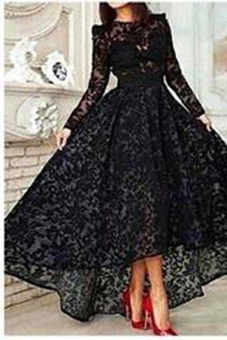 Elegant High Low Black Lace Long Sleeveless Cheap High Neck A-Line Prom Dresses RS828
