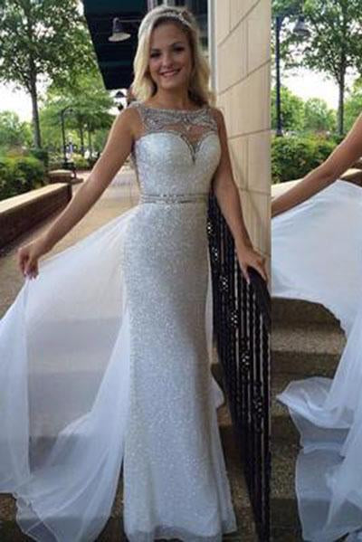 White Backless Sheer Silver Beaded Bodice with Sparkle Long Chiffon Sequin Prom Dresses RS110