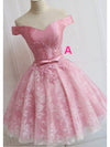 Off the Shoulder Lace up Lace Applique Dusty Rose Short Prom Dress Homecoming Dresses RS759