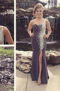 Mermaid New Style Grey Prom Dresses Sexy Beading Evening Gown Elegant Party Gowns RS167