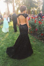 Load image into Gallery viewer, New Style High Neck Backless Lace Black Open Back Mermaid Cap Sleeve Evening Dresses RS05