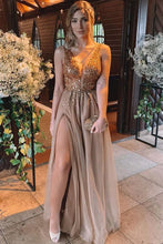 Load image into Gallery viewer, 2019 A-Line/Princess Sleeveless V-Neck Floor-Length Rhinestone Tulle Dresses Evening Dress