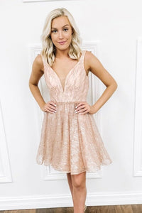 Short/Mini Homecoming Dress Sequins V Neck Sparkling
