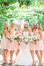 Load image into Gallery viewer, Pink Zipper Back Sweetheart Chiffon Backless Short Bridesmaid Dresses
