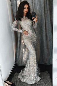 Gorgeous Long Sleeves Elegant Sheath Sequin Shiny Modest Prom Dresses Evening Dresses