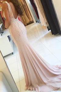 2019 V-Neck Mermaid Chiffon Prom Dresses With Beads And Slit Open Back