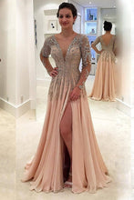 Load image into Gallery viewer, 2019 V Neck Long Sleeves Prom Dresses A Line Chiffon With Beads And Slit