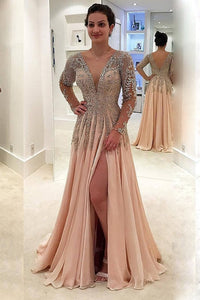 2019 V Neck Long Sleeves Prom Dresses A Line Chiffon With Beads And Slit