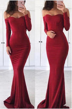 Load image into Gallery viewer, Sexy Off the Shoulder Long Sleeve Sweetheart Red Prom Dresses, Graduation SRS20440
