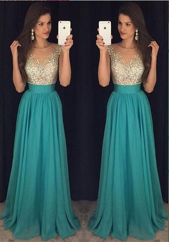 2019 Sexy Crew Neck Chiffon Long Tulle Beaded Stones Top Floor Length Prom Dresses RS162