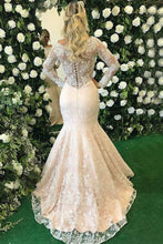 Load image into Gallery viewer, 2019 Long Sleeves Scoop Mother Of The Bride Dresses Mermaid Lace With Applique