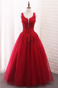 2019 A Line Tulle Straps Prom Dresses With Applique And Beads Floor Length