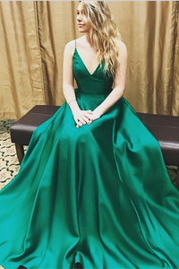 Spaghetti Straps Elegant Simple Long Green V-Neck A-Line Prom Dresses