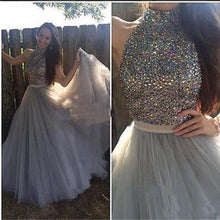 Load image into Gallery viewer, Long Custom High Neck Gray Sparkly Cocktail Evening Party Prom Dresses Online PD0170
