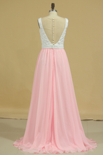 Load image into Gallery viewer, 2019 New Arrival Prom Dresses Scoop A Line Chiffon With Beading Sweep Train