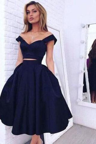 Vintage Style A-line Two-piece Off-the-shoulder A-line Dark Navy Homecoming Dress RS871
