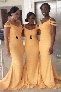 Sheath Memraid Elegant Simple Cheap Long Yellow Bridesmaid Dresses