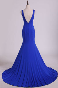 2019 Sexy Open Back Prom Dresses Mermaid  V Neck Court Train Spandex