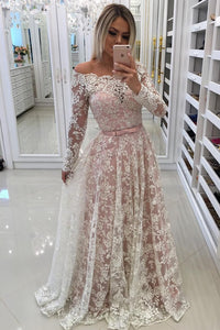 2019 Off The Shoulder Long Sleeves Lace A Line With Beads And Sash Prom Dresses