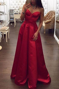 Simple Cheap Elegant Spaghetti Straps Red Satin Long Prom Dresses