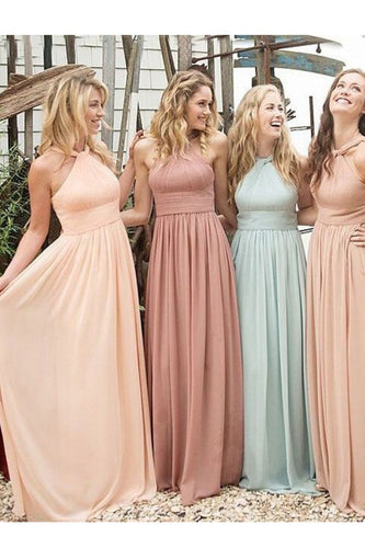 2019 Sweep Train Straps A Line Chiffon With Ruffles Bridesmaid Dresses