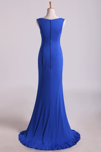 Load image into Gallery viewer, 2019 Simple Scoop Mermaid Prom Dresses/Evening Dresses Zipper Back