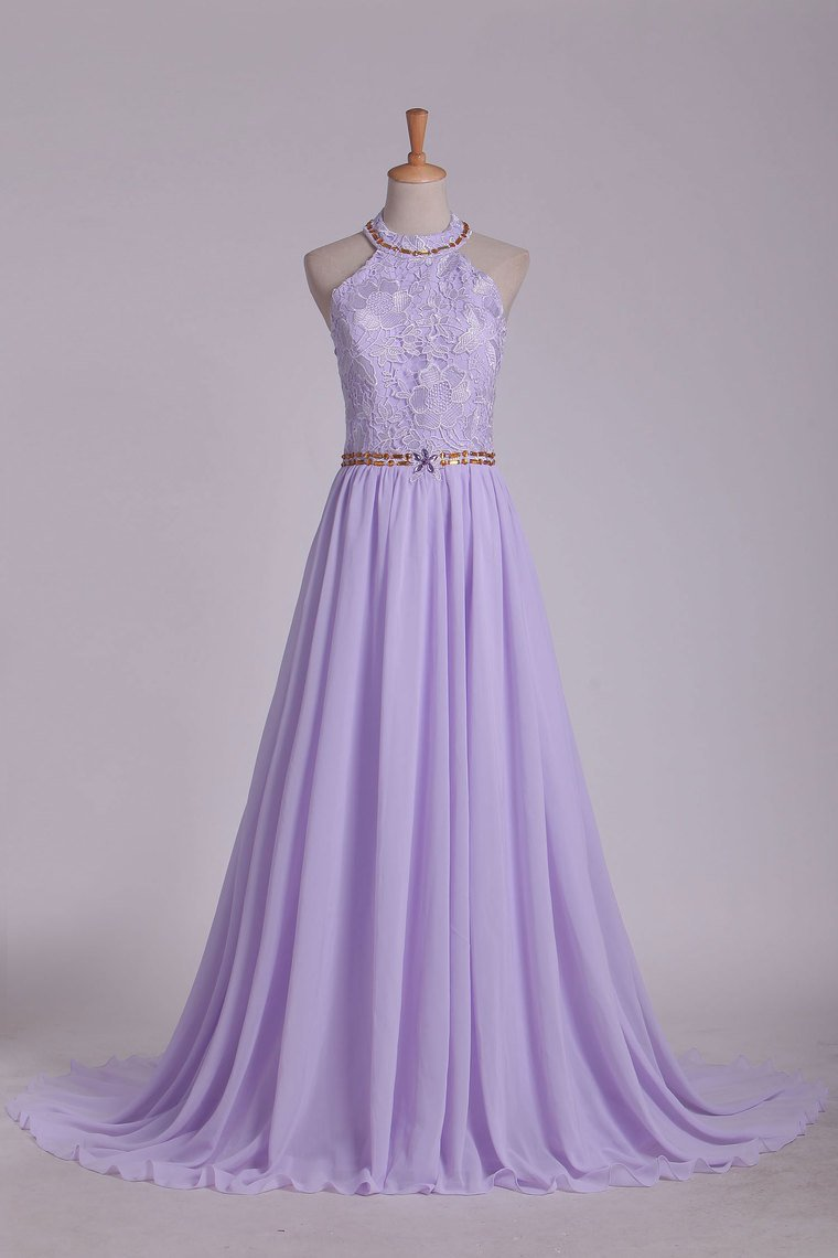 2019 Prom Dresses A Line Halter Chiffon & Lace With Beading Sweep Train Open Back