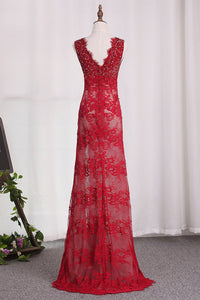 2019 Prom Dresses V Neck Lace With Beading And Slit Mermaid Sweep Train
