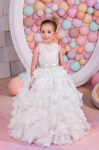 2019 Flower Girl Dresses A Line Chiffon & Lace With Sash Lace Up