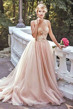 Load image into Gallery viewer, Modest Lace Blush Pink Spaghetti straps Tulle Beading Sweetheart Long Prom Dresses RS173