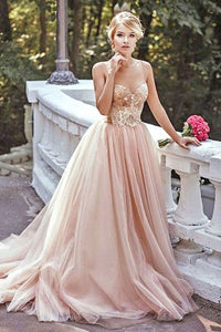 Modest Lace Blush Pink Spaghetti straps Tulle Beading Sweetheart Long Prom Dresses RS173