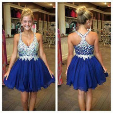 Load image into Gallery viewer, Royal Blue Cute Short Tulle Homecoming Dresses With Beading H27