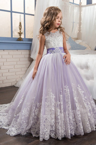 2019 Flower Girl Dresses Scoop Ball Gown Tulle With Applique And Bow Knot